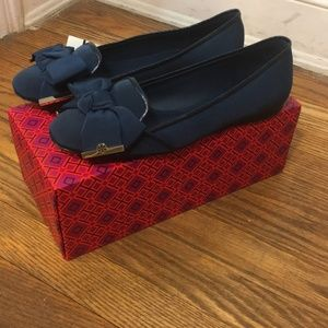 Tory Burch Navy Bow Penny Smoking Slipper